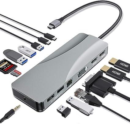 OKX USB C Docking Station Adapter 12 in 1 with Dual 4K HDMI Triple ...