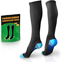 BAMS Premium Bamboo Womens and Mens Compression Socks - Antibacterial 20-30 mmHg Graduated Knee-High Sock with Hypoallergenic Odor-Kill Technology for Running, Sports, Travel, Maternity (1 Pair)
