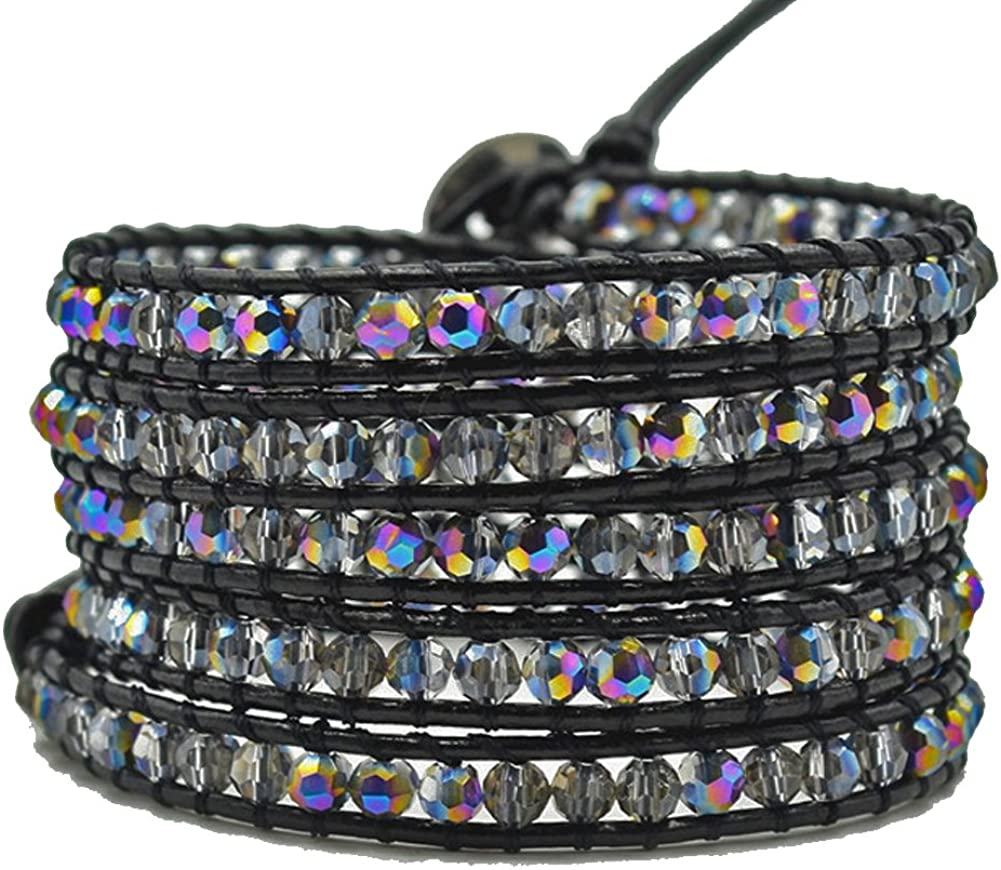 MO SI YI Long Leader Bead Wrap Bracelets for Women Girls Men with Bling Black Faceted Crystal Beads 5 Wrapped Adjustable