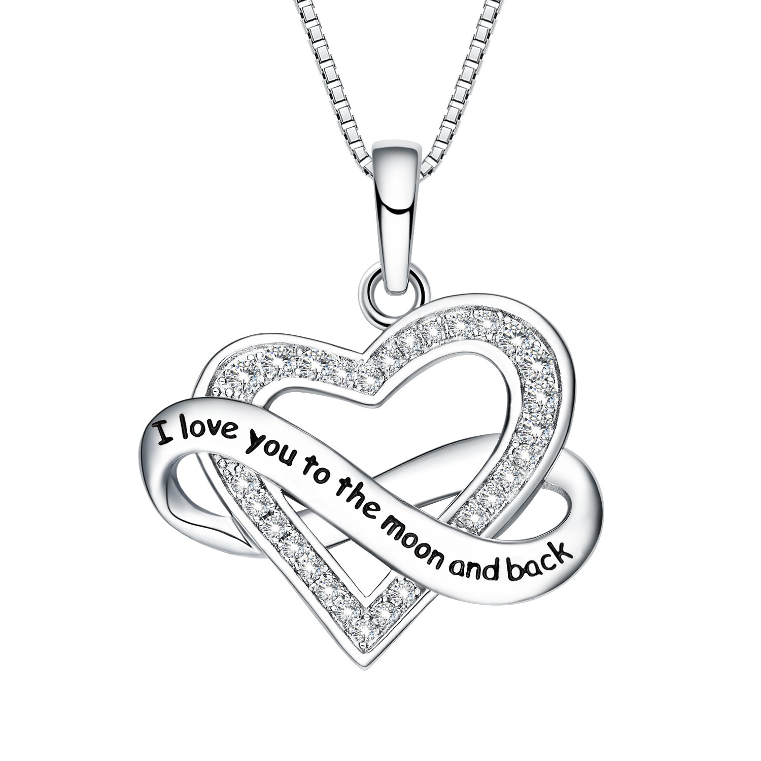 NUMMY I Love You To The Moon And Back Engraved Pendant Necklace for Women (18'' Adjustable) - Silver Crystal Pendant w/Luxury Gift Box Lights Her Face Up w/a Smile (I Love You To The Moon & Back)