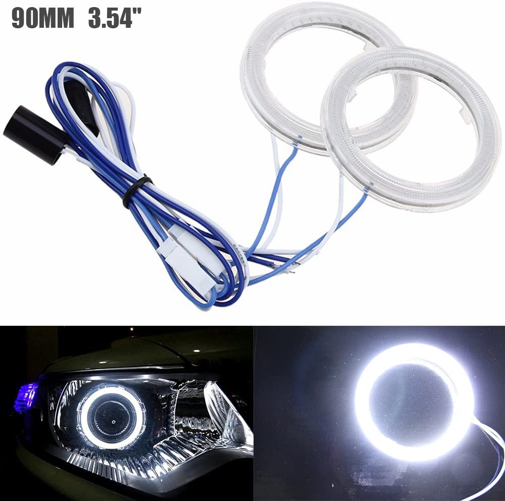 12V Estremamente Luminoso Bianco COB Halo Circle Ring Light Head Angel Eye per Faro Moto Foglight Day Running Light DRL 2 Pezzi Diametro Esterno 60MM 2,36 ALOPEE