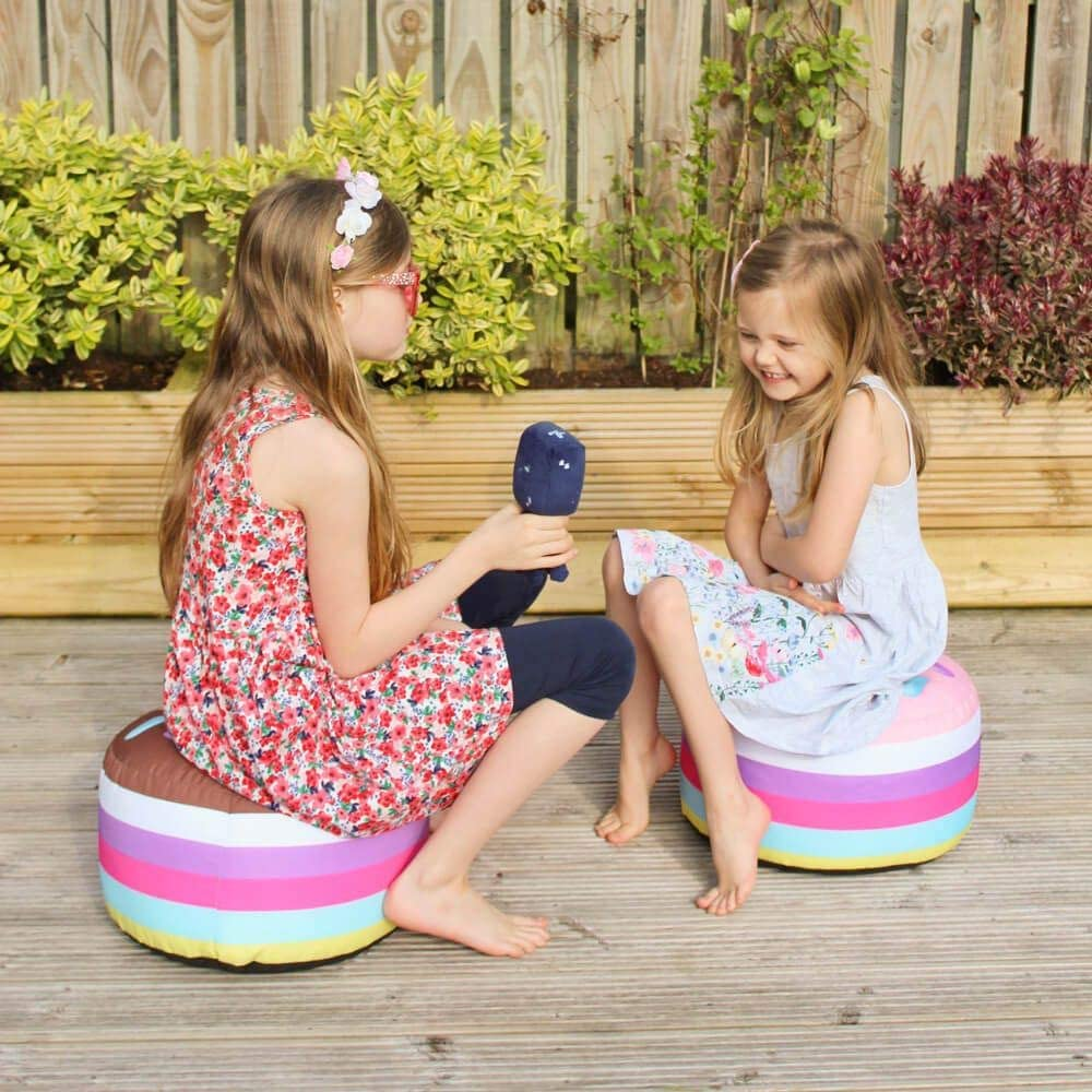 rucomfy Beanbags Indoor/Outdoor Donut Hole Kids Stool (Strawberry Donut Hole Kids Stool) Chocolate Donut Hole Kids Stool