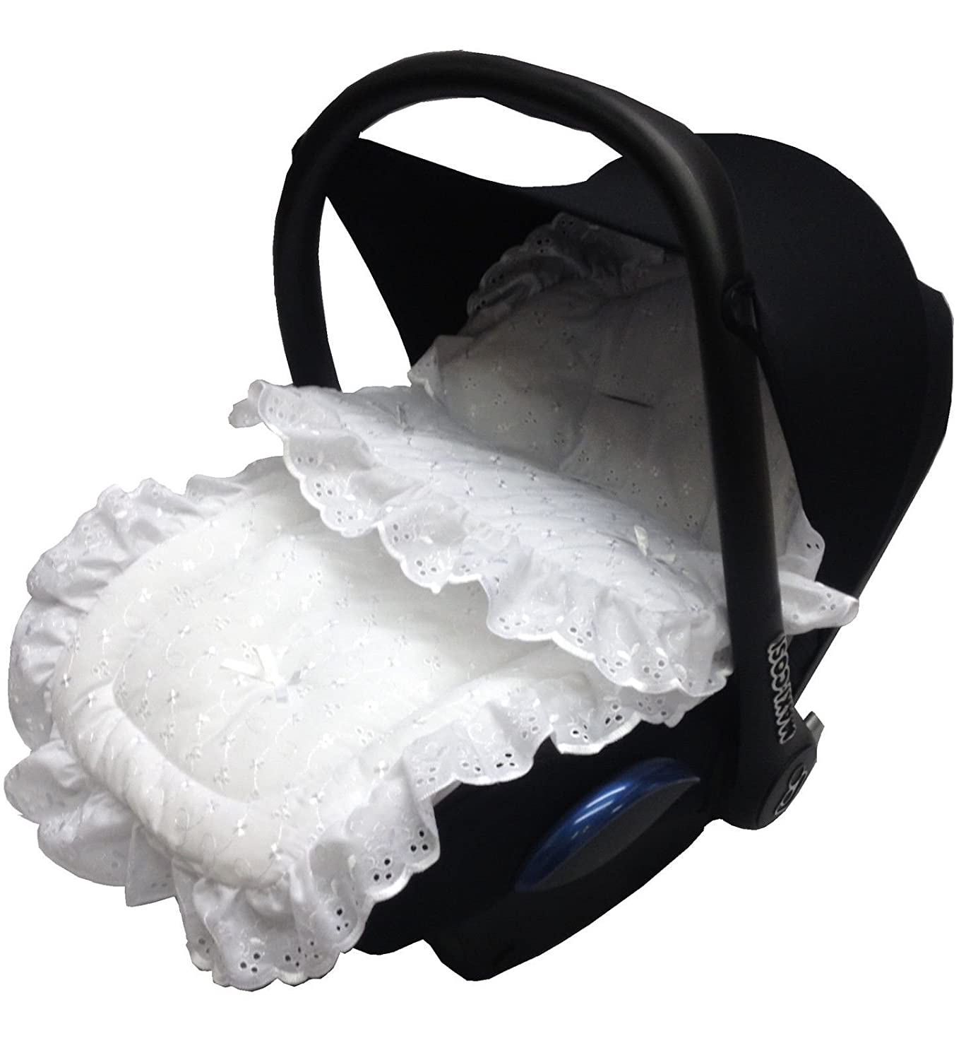 Broderie Anglaise Car Seat Footmuff/Cosy Toes Compatible with Joie White For-Your-Little-One