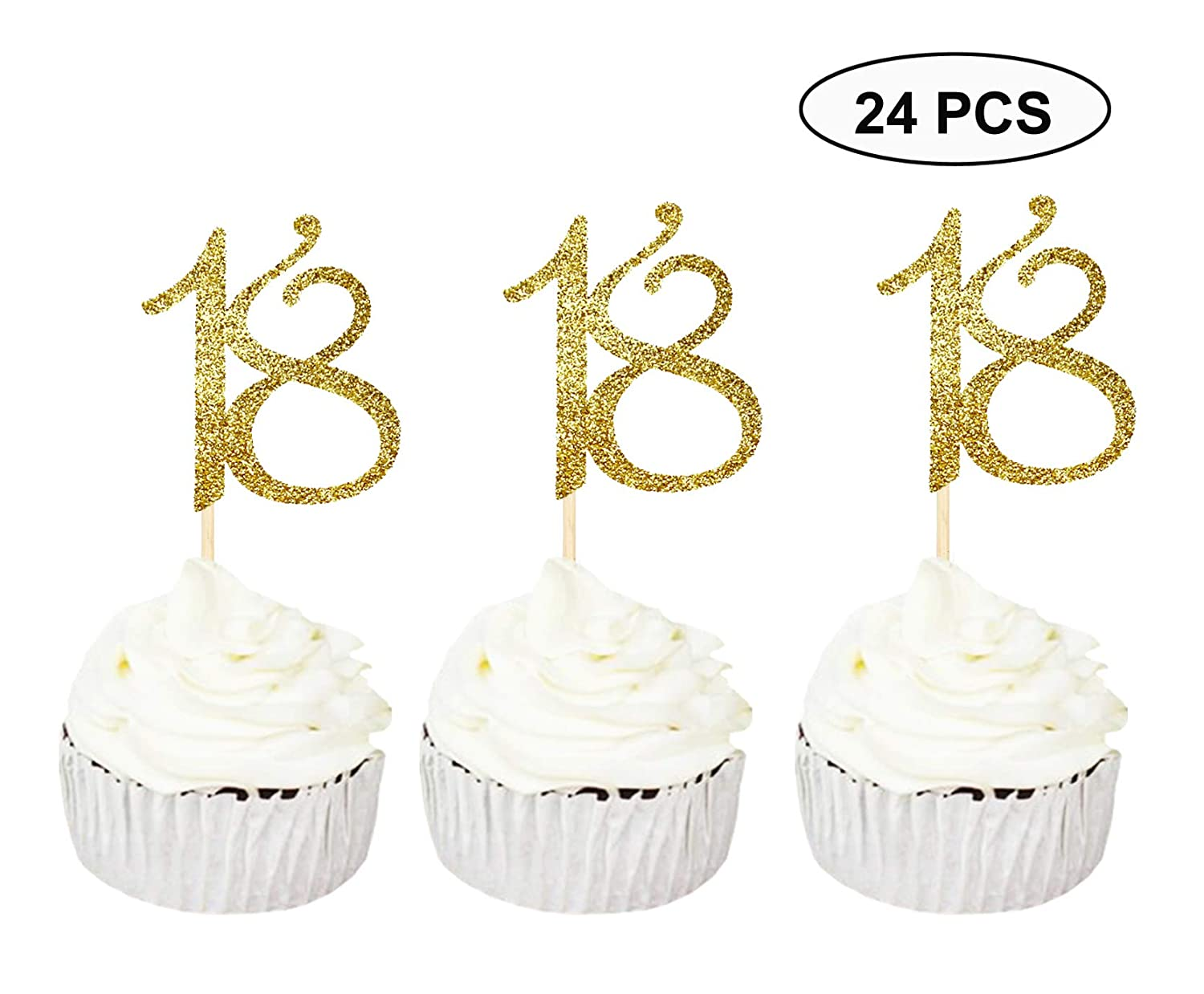 24 PCS 18th Cupcake Toppers - Anniversary or Birthday Cupcake Picks Party Decoration Supplies | Black 18th