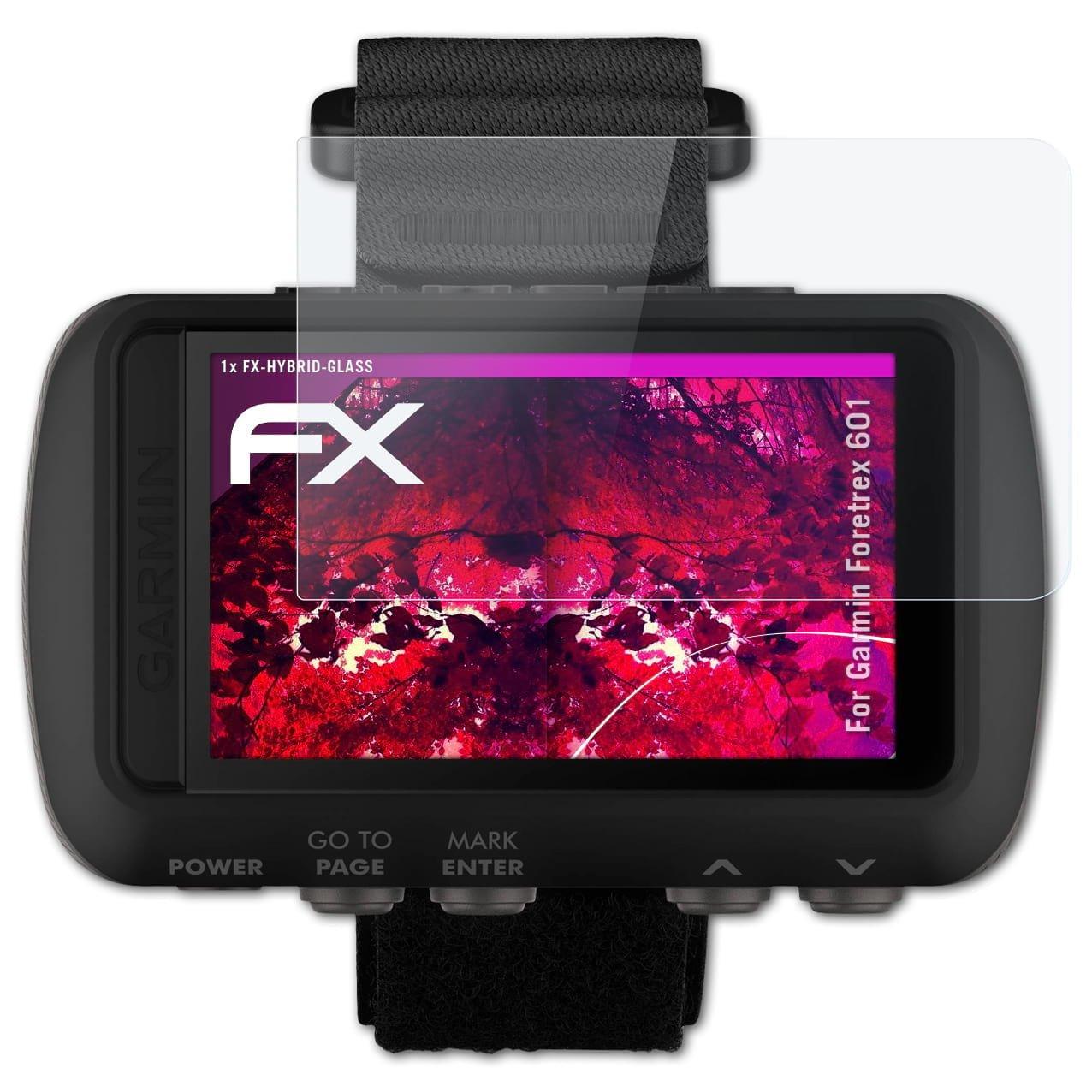 atFoliX Lámina Protectora de plástico Cristal para Garmin Foretrex 601 Película Vidrio, 9H Hybrid-Glass FX Protector Pantalla Vidrio Templado de plástico