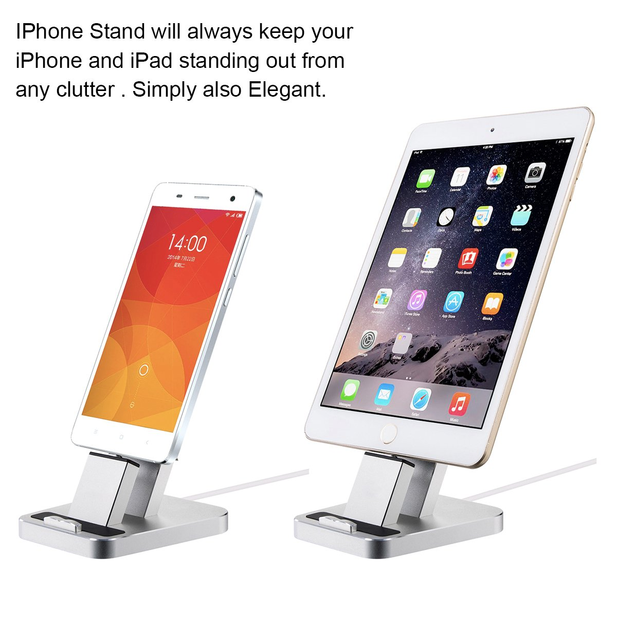 iPhone Dock,Aluminum iPhone Desk Charger Stand Dock Station Holder for iPhone 7/7Plus/6S/ 6/6 Plus/SE/5S and Samsung S7/S7 eage (Sliver)