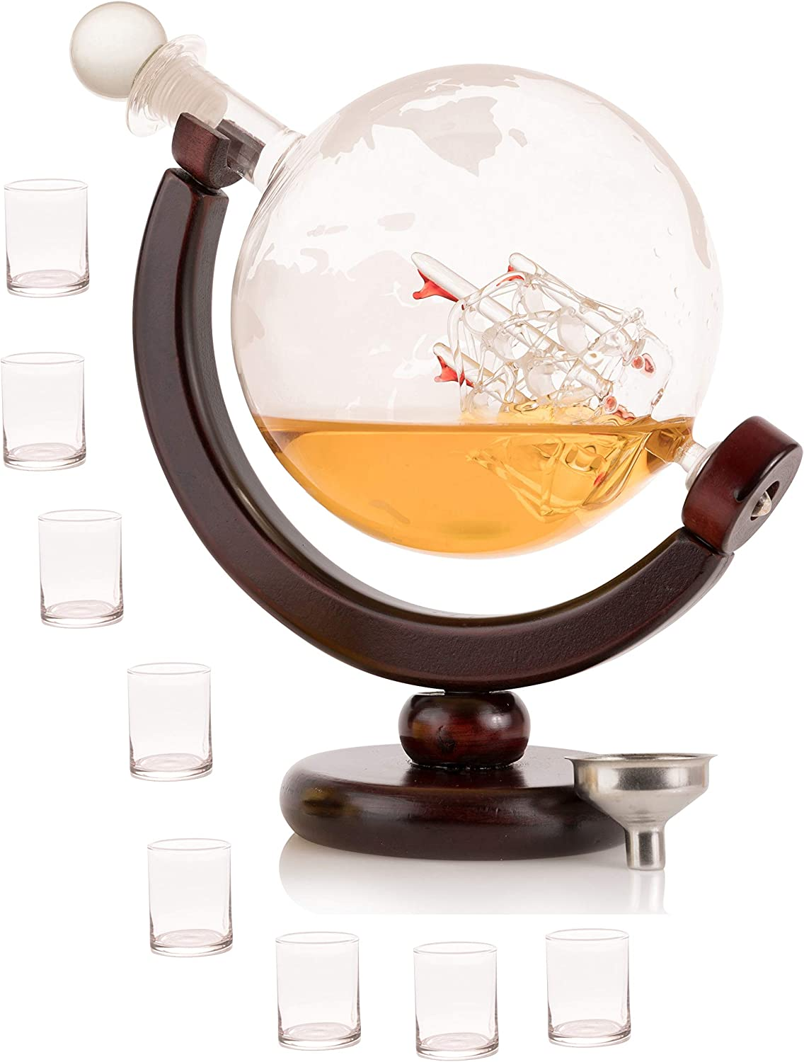 Olivia & Aiden Whiskey Decanter Globe with 8 Shot Glasses (Large 850 mL) World Map Liquor Dispenser | Unique, Vintage, Round | Bourbon, Scotch, Brandy, or Rum