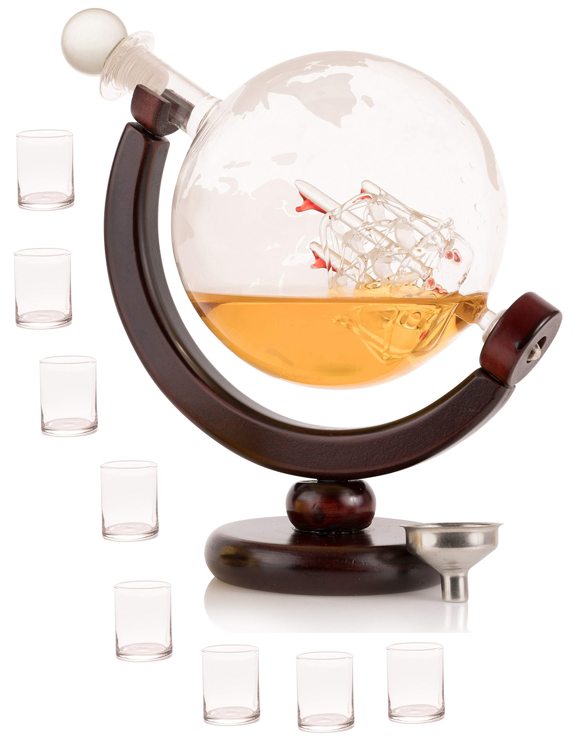 Olivia & Aiden Whiskey Decanter Globe with 8 Shot Glasses (Large 850 mL) World Map Liquor Dispenser | Unique, Vintage, Round | Bourbon, Scotch, Brandy, or Rum by OLIVIA & AIDEN (Image #1)