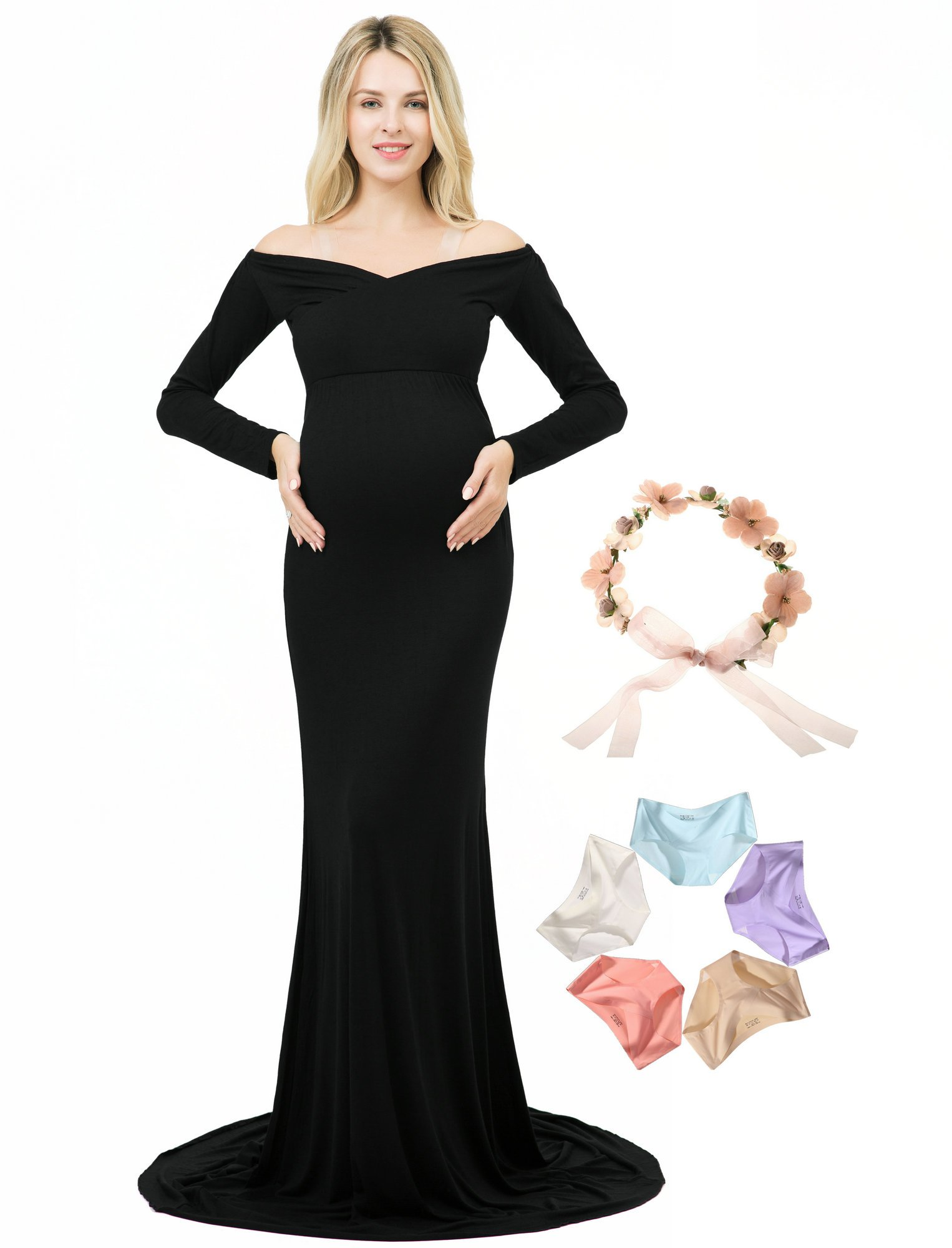 Photoshoot Maternity Dress Long Sleeve Off Shoulder V-Neck Photography Gown (Black, M)