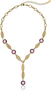 """product image for 1928 Jewelry Gold-Tone Amethyst Purple Genuine Swarovski Crystal Adjustable Y-Shaped Necklace, 16"""""""