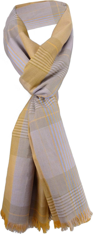 Gr 190 x 60 cm gecrashter Schal in braun beige gestreift mit Fransen