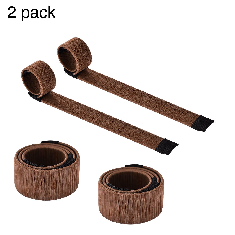 VABNEER Ciambelle per Chignon Donut Hair Bun Maker Styling DIY Strumento Ciambella Capelli Per Donne e Ragazze (2 Pack, Marrone)
