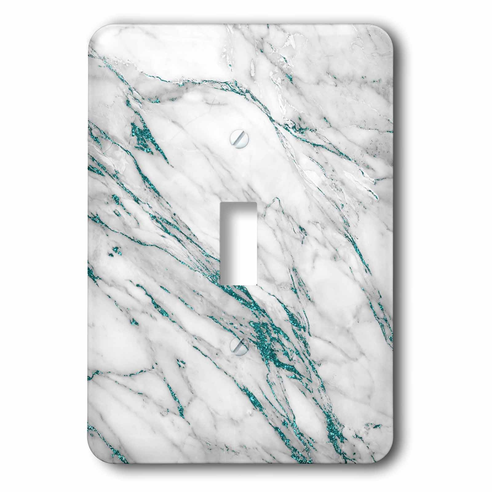 3dRose Uta Naumann Faux Glitter Pattern - Luxury Grey Aqua Teal Gem Stone Marble Glitter Metallic Faux Print - Light Switch Covers - single toggle switch (lsp_268837_1)