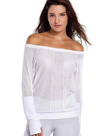 CRZ YOGA Femme T-Shirt de Sport Rayé Mesh à Manches Longue Chemise Running  Blanc 32bd895ae4c