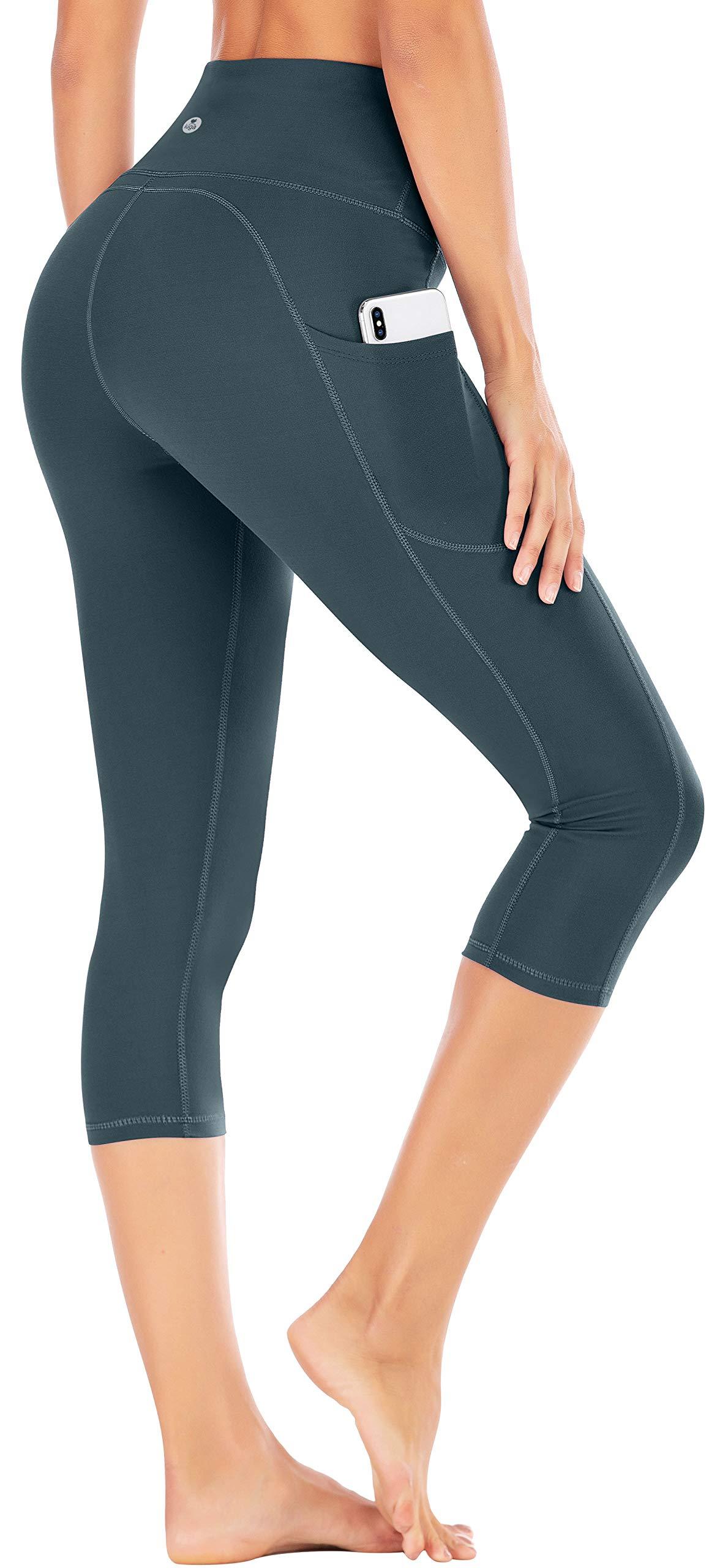 IUGA High Waist Yoga Pants with Pockets, Tummy Control Yoga Capris for Women, 4 Way Stretch Capri Leggings with Pockets(Dark Green, L) by IUGA