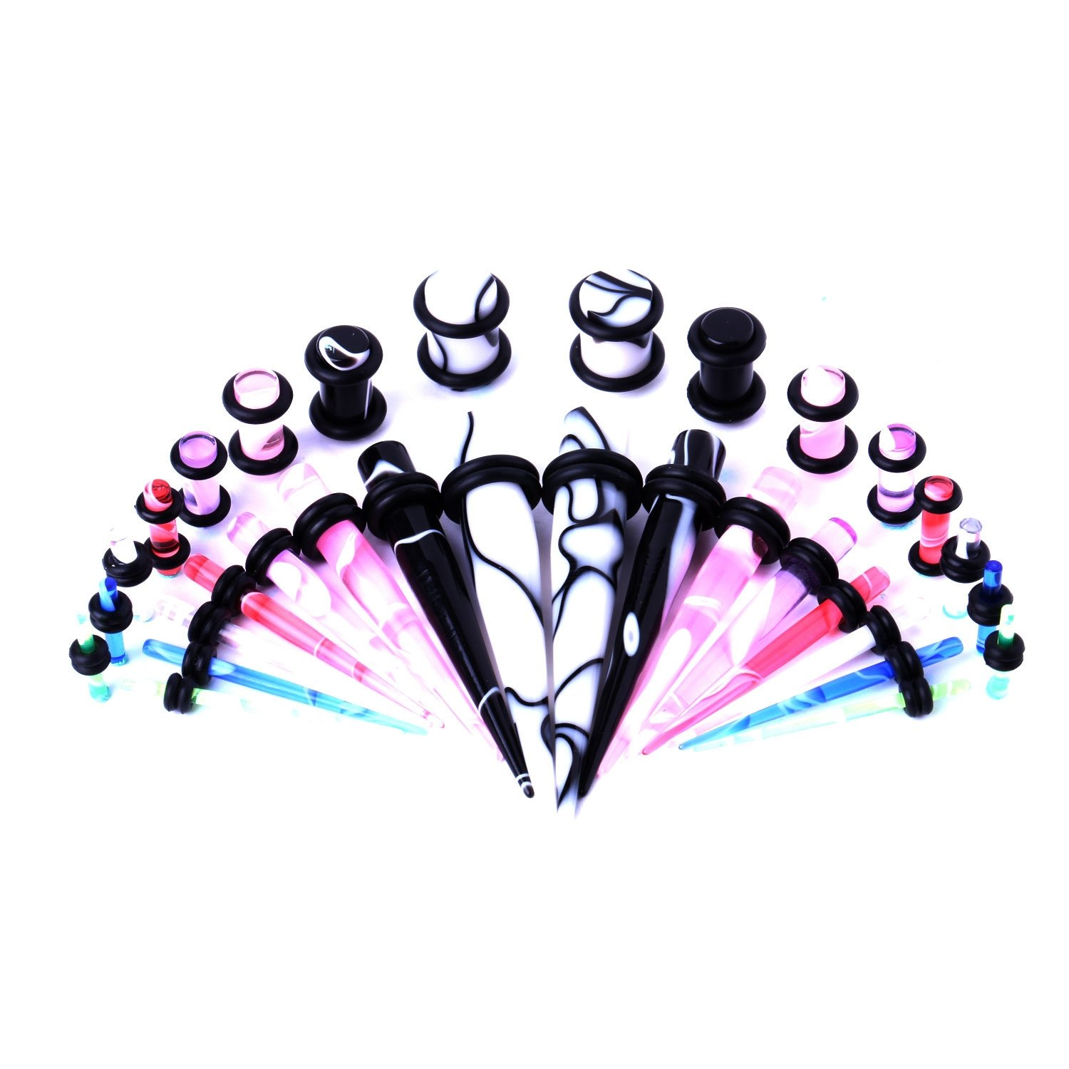 BodyJ4You Tapers with Plugs 32 Pieces Taper Kit Acrylic Marble 14G-0G Stretching Kit - 16 Pairs