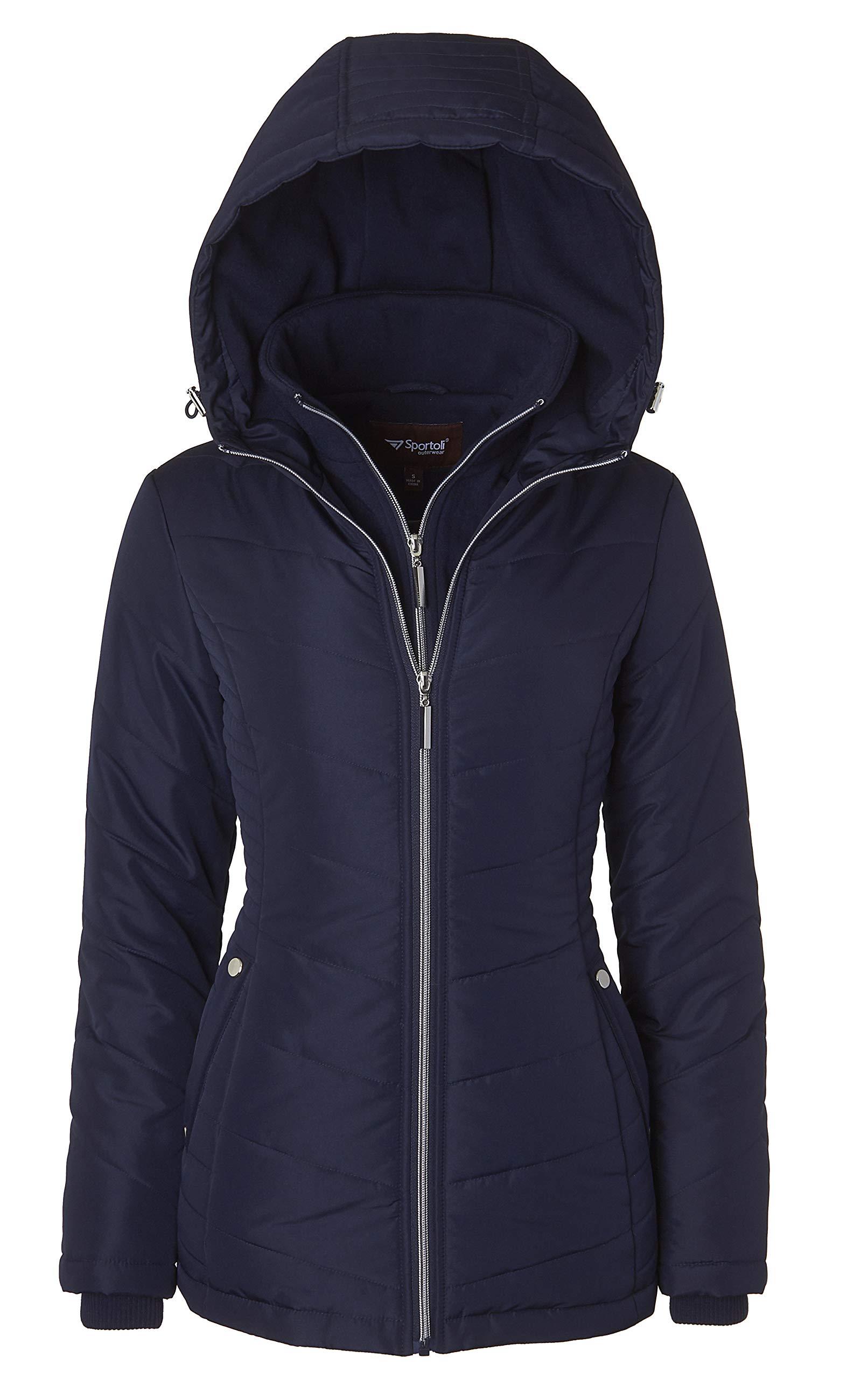 Women's Down Alternative Quilted Midlength Vestee Puffer Jacket Fleece Hood - Stormy Night (Medium)