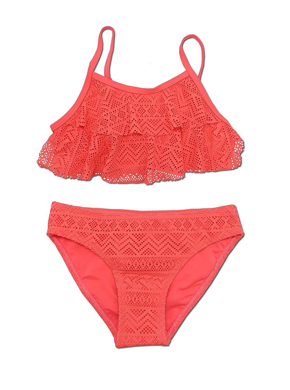 Hilor Girls Strappy Bikini Set Two Piece Swimsuits Side Tie Hipster Swimwear Tassels Tankini Set