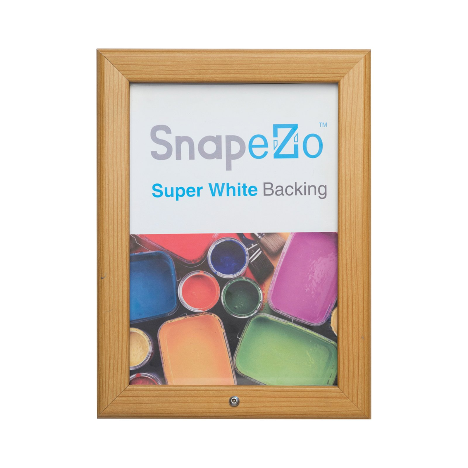 SnapeZo Locking Diploma Frame 8.5x11 Inches, Light Wood Effect 1.25'' Aluminum Profile, Lockable Front-Loading Snap Frame, Wall Mounting, Professional Series