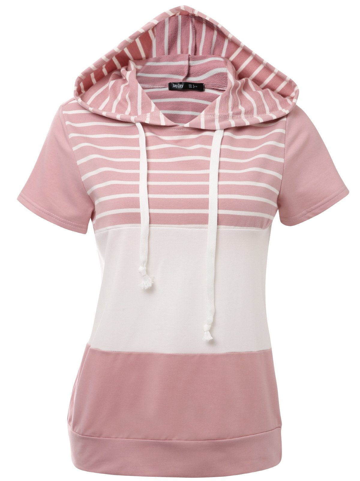 JayJay Women Casual Athleisure Short Sleeve Striped Contrast Color Pullover Hoodie Sweater Shirt,INDIPINK,2XL