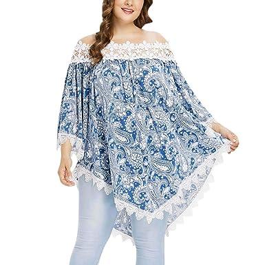 d25e5095f4c Womens Plus Size Casual Lace Tops Blouse Off Shoulder Hollow Out Long  Sleeve Bohemian Slash-
