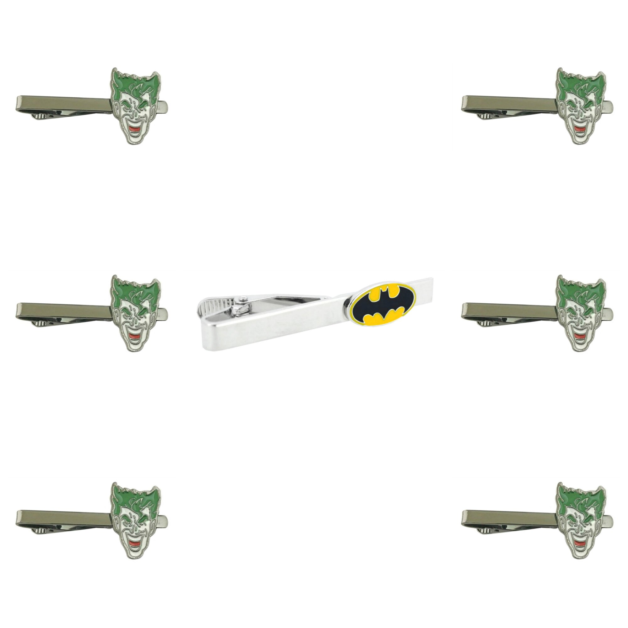 DC Comics - Batman & Joker - Tiebar Tie Clasp Set of 7 Wedding Superhero Logo w/Gift Box