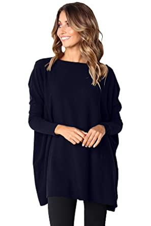Boldgal Girl\u0027s Western Oversized Full,Sleeved Knitted Wide Neck Sweater  (Blue_Small)