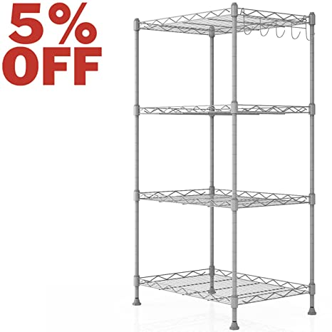 Amazon.com: Estantería de alambre de acero para 4 estantes ...