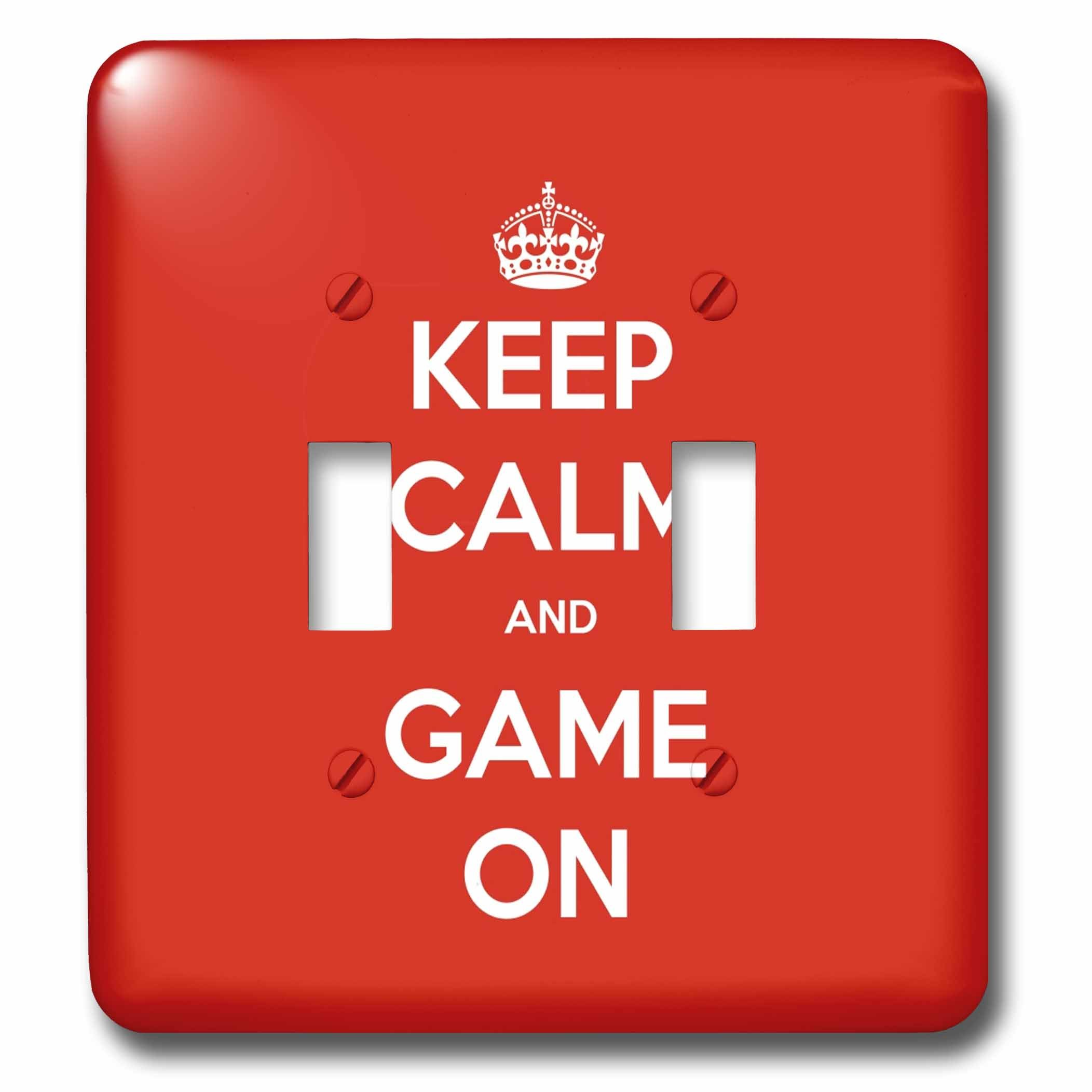 3dRose Gaming - Keep Calm And Game On Red - Light Switch Covers - double toggle switch (lsp_261103_2)