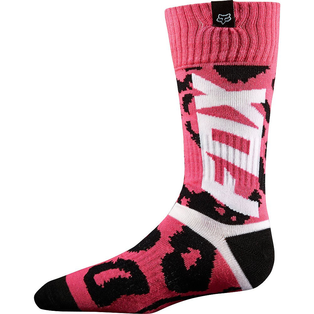Fox Racing MX Marz Youth Girls MX Motorcycle Socks - Black/Pink/Large