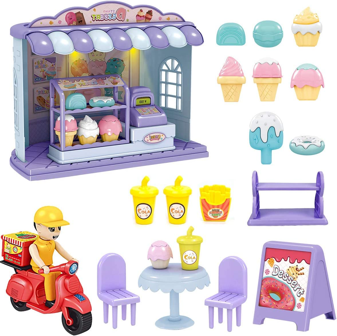 XMASGIC Sweet Treats Ice Cream Parlour Playset - Dining Sets, Take-Out Motorcycle, Cashier Services, Pretend Play Food Decorating Kit, Toy Frozen Dessert and Accessories for Kids 3 and Up (19 Pieces)