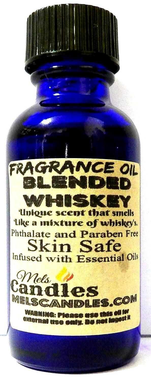 Mels Candles & More Blended Whiskey - 1oz/29.5ml Blue Glass Bottle Premium Grade Fragrance Oil, Skin Safe Oil, Candles, Lotions Soap & More 4336903396