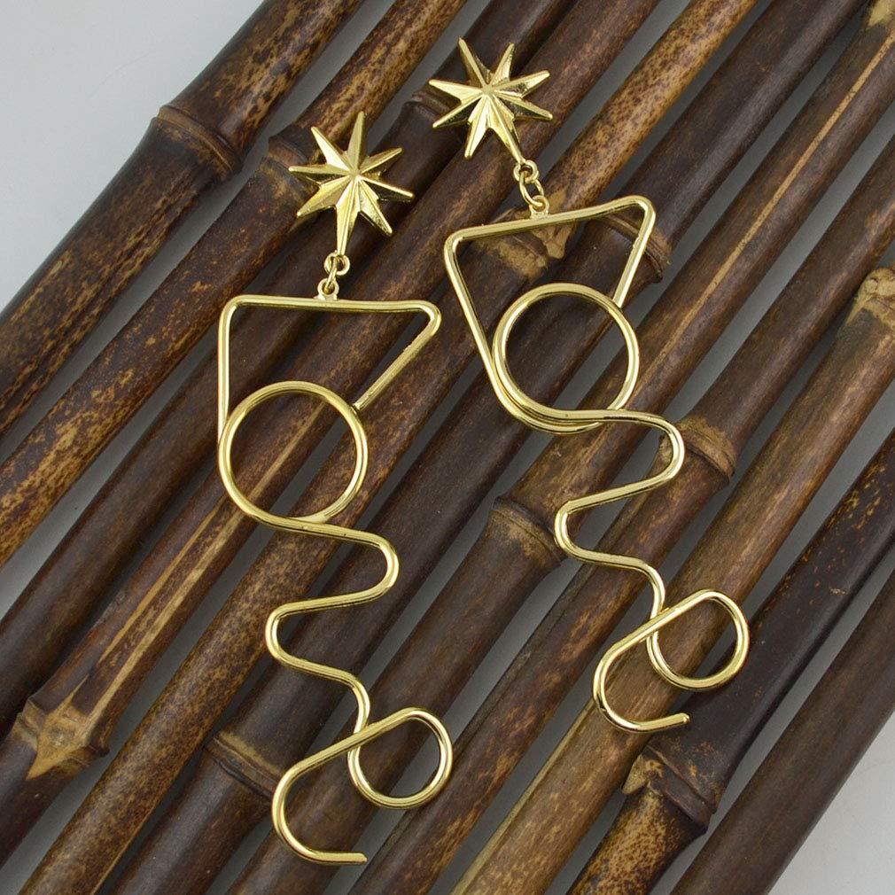 Jinxian Gold Plated Drop Earrings Graceful Dangling Vintage Studs Elegant
