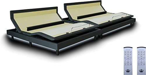 DynastyMattress DM9000s Split King Adjustable Bed Base Frame, Top of The Line Quality, Independent Head Tilt Lumbar Support Quad Massage, Bluetooth, Audio Music