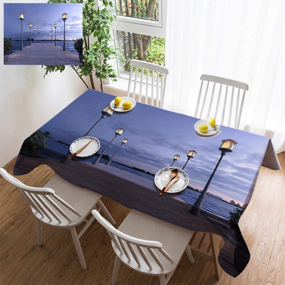 HOOMORE Simple Color Cotton Linen Tablecloth,Washable, 3D Rendering Wood pier Near sea with lamp Post Decorating Restaurant - Kitchen School Coffee Shop Rectangular 54×54in