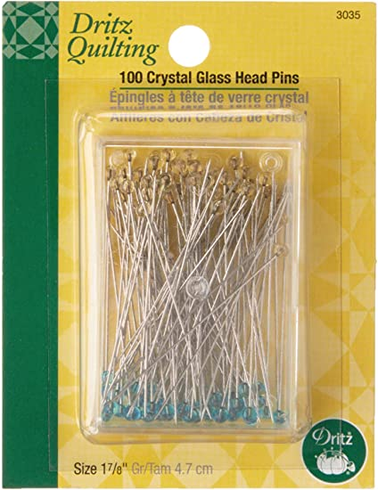 1-7//8-Inch 100 Count Dritz Quilting 3035 Crystal Glass Head Pins