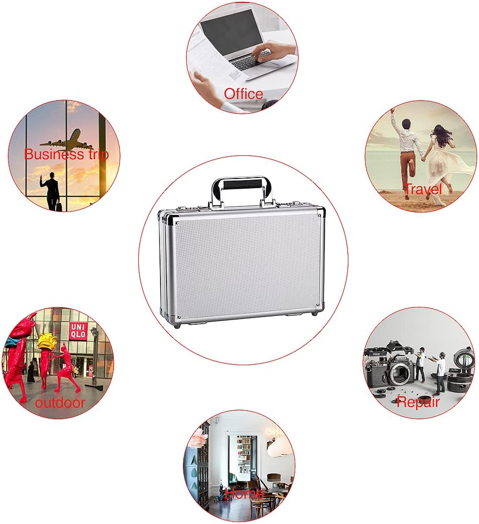 Portable Aluminum Hard Case Carrying Case ToolBox Case Briefcases Silver