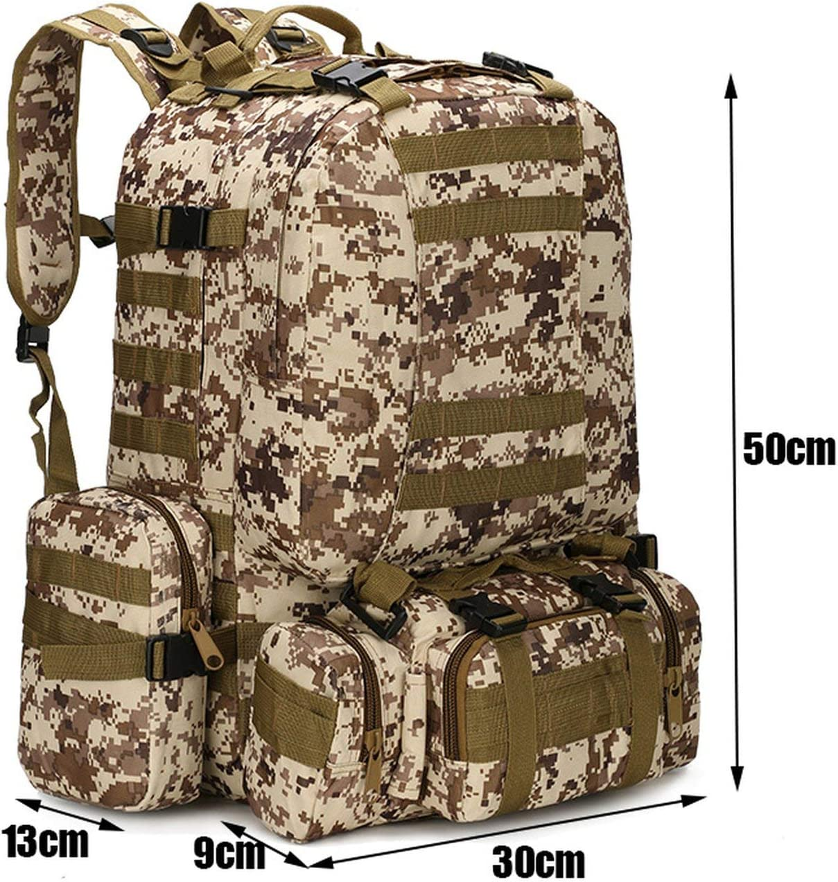 Goodbye 50L Tactical Backpack 4 in 1 Military Bags Army Rucksack Backpack Outdoor Sport Bag Men Camping Hiking Travel Climbing Bag