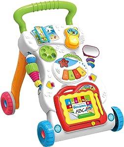 عربة مشاية للاطفال فيرست ستيبز 2 في 1 مع اضواء واصوات - لعبة مرحة تعمل بالدفع