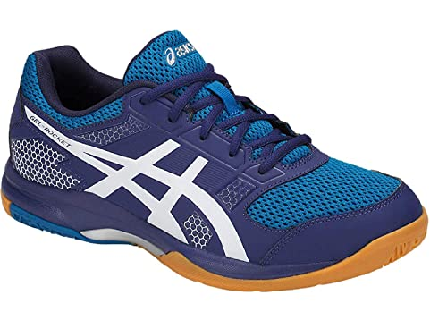 ASICS Men's Gel Rocket 8 Blue Print/White Non Marking Badminton ...