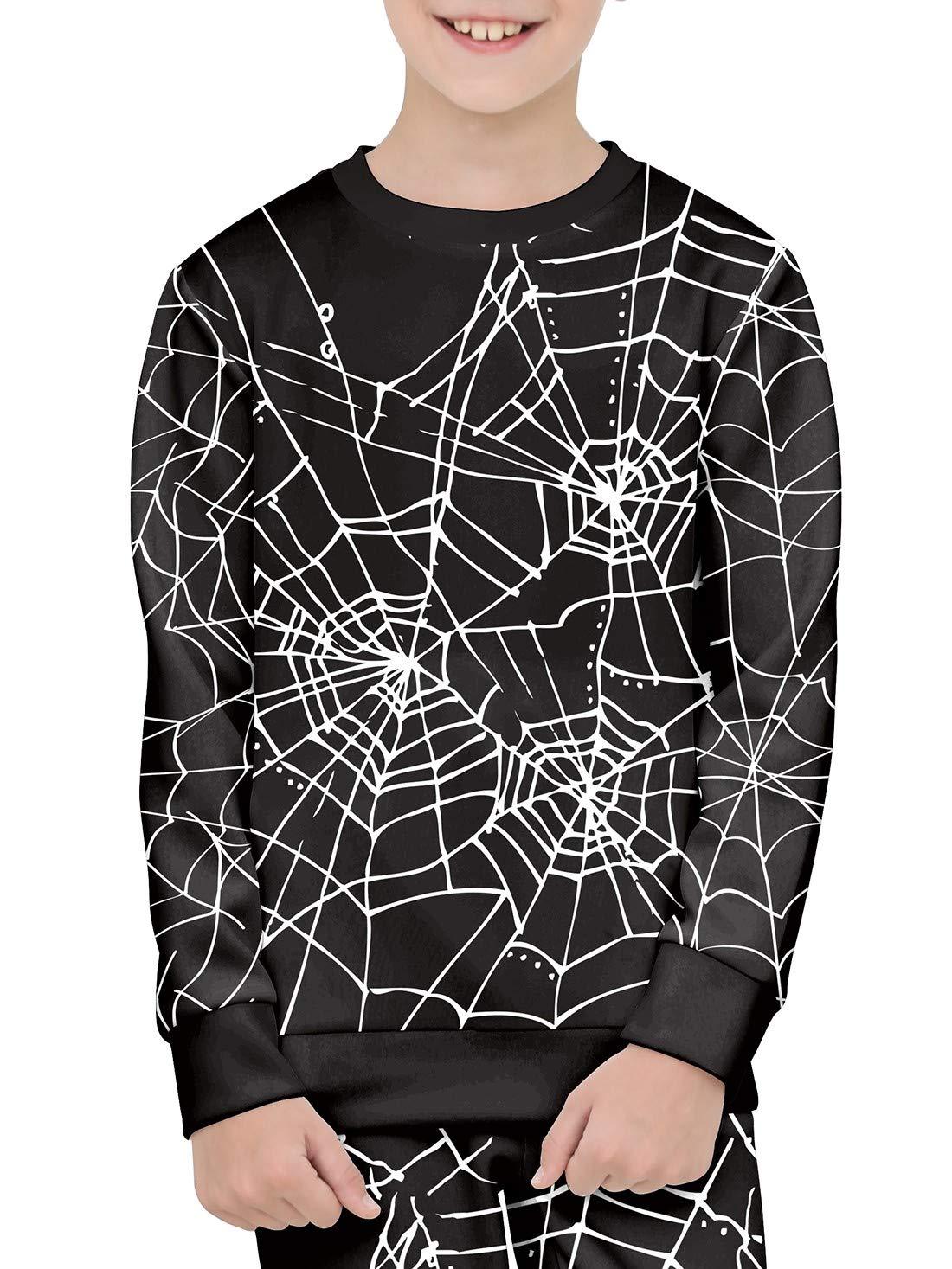 BesserBay Unisex Kid's Halloween Long Sleeve Crewneck Pullover Graphic Spider Web Printing Black Sweatershirt 2-4T