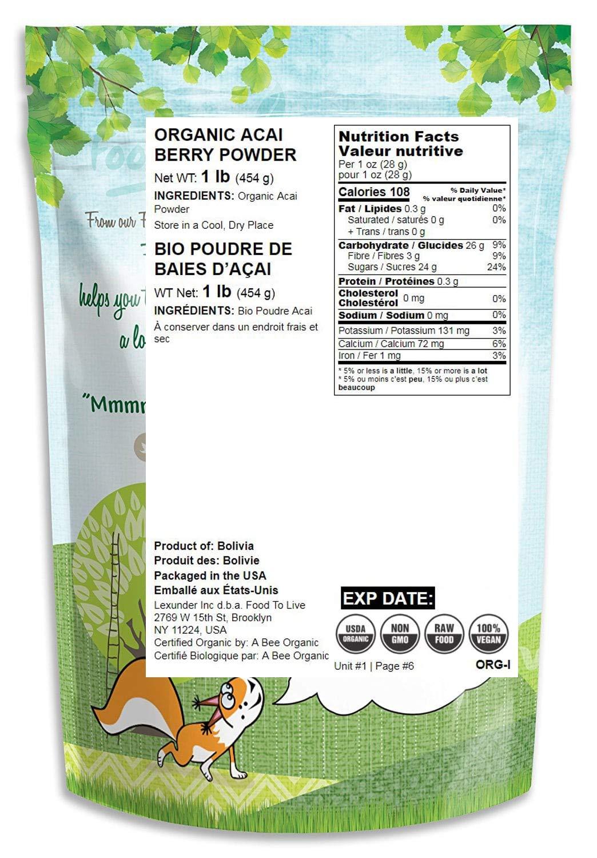 Organic Acai Berry Powder, 1 Pound - Non-GMO, Raw, Vegan, Freeze-Dried, Unsweetened, Unsulfured, Bulk by Food to Live (Image #2)