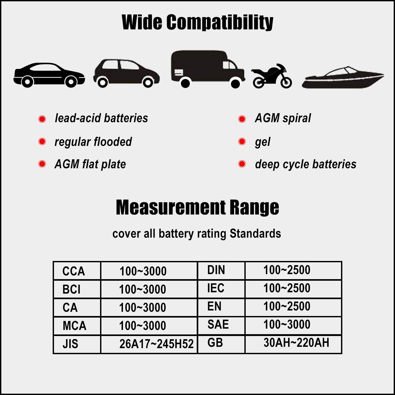 Juta BTP500 12 V//24 V 100-3000 CCA Tester di carico delle batterie per Auto Camion avviamento e Sistema di Ricarica Strumento di scansione Digitale con Stampante Termica per Auto Moto e Barche