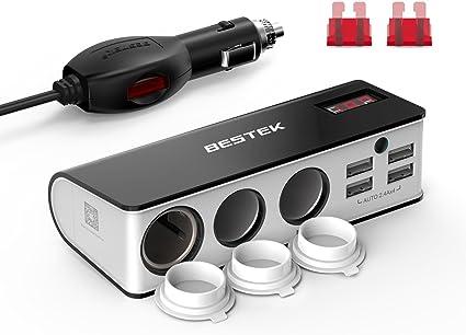 BESTEK Chargeur Allume Cigare Adaptateur Chargeur de Voiture 12V et 24V avec Triple Prises Allumes Cigare, 4 Ports USB, Interrupteur, Fusibles,
