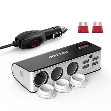 BESTEK Multiprise Allume Cigare Adaptateur Chargeur de Voiture 12V et 24V  avec Triple Prises Allumes- 9931cf236759