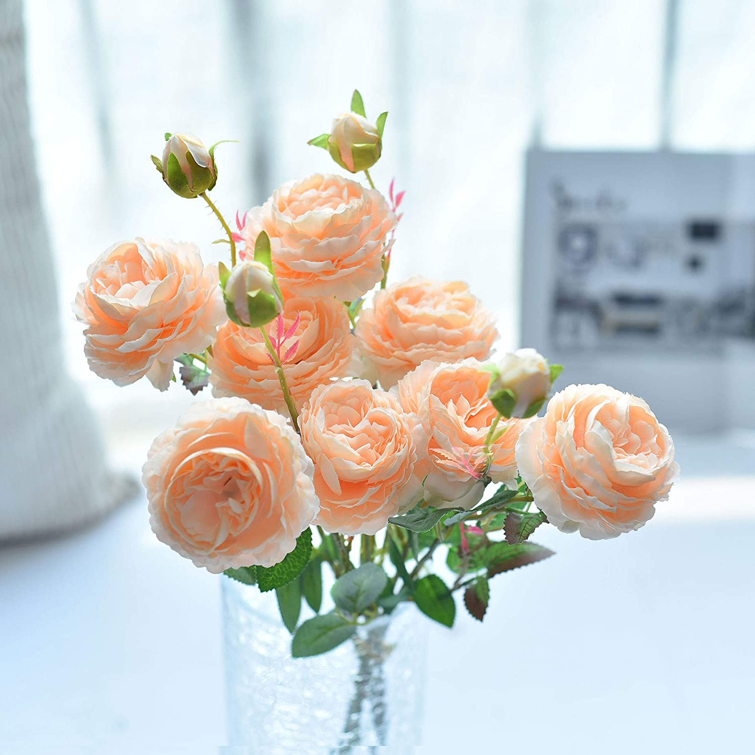 famibay Faux English Cabbage Rose 4 Branch 12 Stems Bundle Mixed Blooms & Buds Spays in Peach Pink, Artificial Silk Flowers & Fake Greenery, Indoor Outdoor Wedding Home Decor