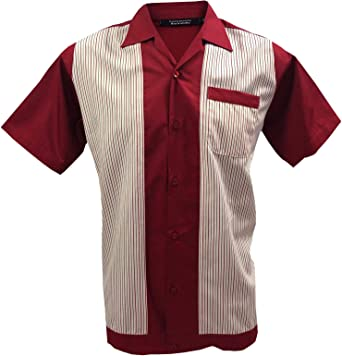 Rockabilly Fashions Hombres Casual Camisa Retro Bowling Classic Collar