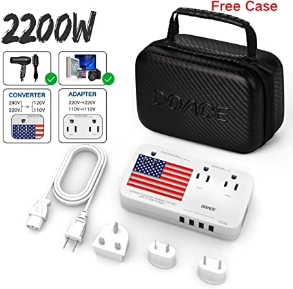 DOACE 2200W Travel Voltage Converter 220V to 110V,4-Port USB UK//AU//EU//US Plug