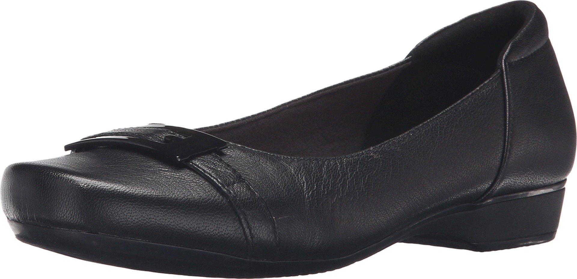 CLARKS Women's Blanche West Flat, Black Leather, 7.5 M US