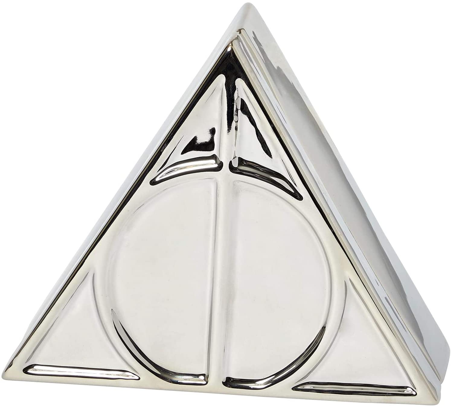 Harry Potter Deathly Hallows Trinket Box - Silver Ceramic Deathly Hallows Symbol Design with Lid - 12 oz